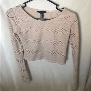 Nude long sleeve cropped top